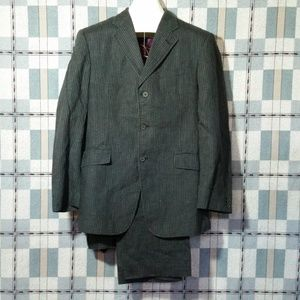 2Pc Linen Suit Jacket 42R Pants 35X32 Pinstripe